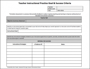 Teacher Instructional Practice Goal and Success Criteria